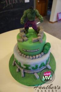 green superhero cake