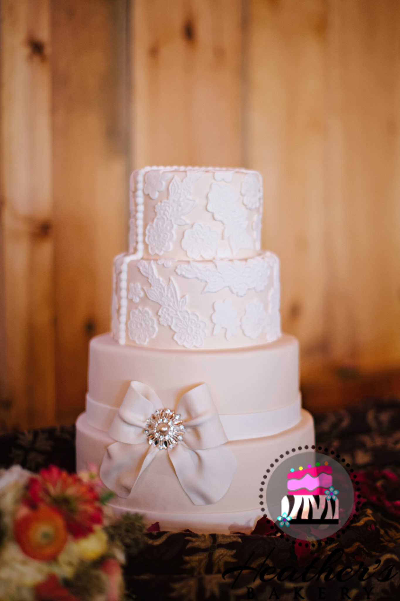 Lace & Bow Elegant Wedding Cake