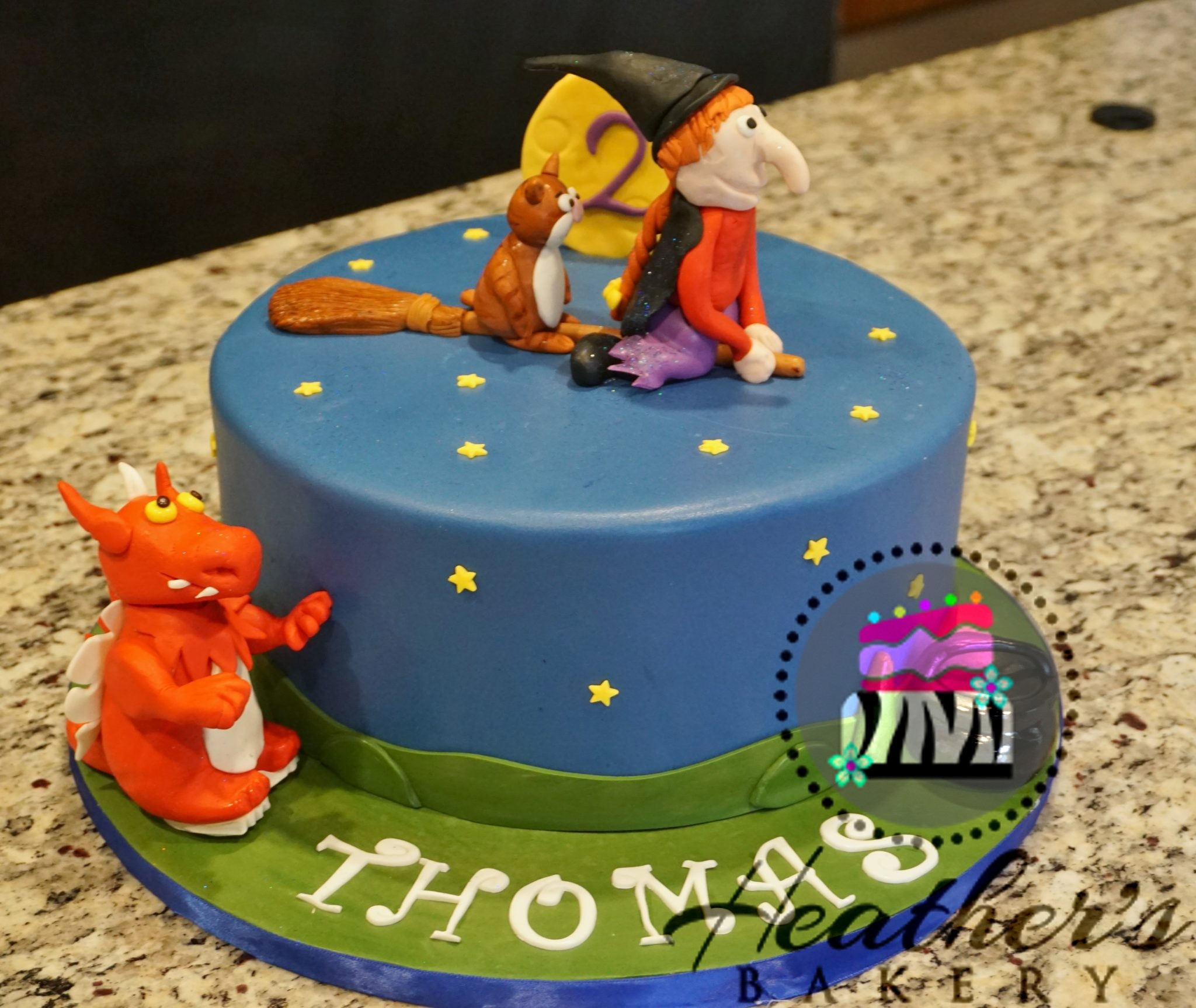Witch on Broom Cake